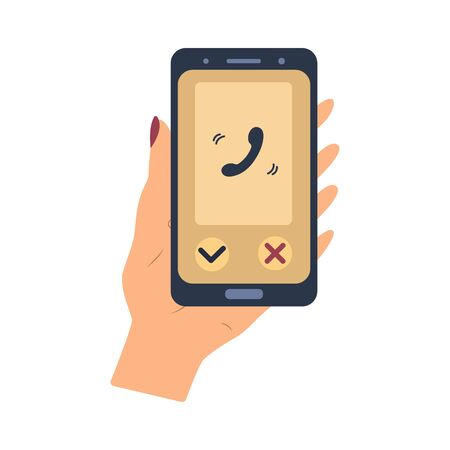 A smartphone with a new incoming call on the screen. Hand holds the phone. Flat style illustration. Receive calls on your mobile. Business and face-to-face communication