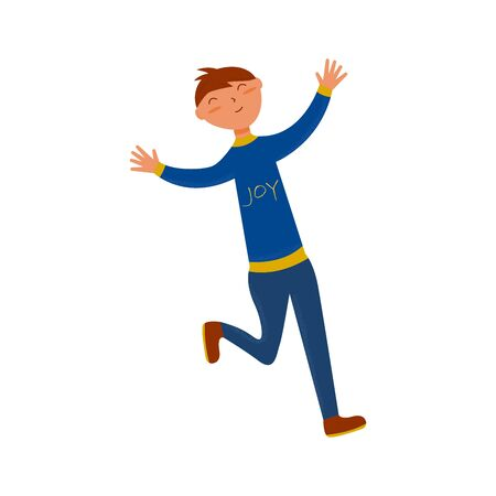 Joyful guy runs with outstretched arms in a blue suit with the words joy. Flat illustration on a white background. Success concept
