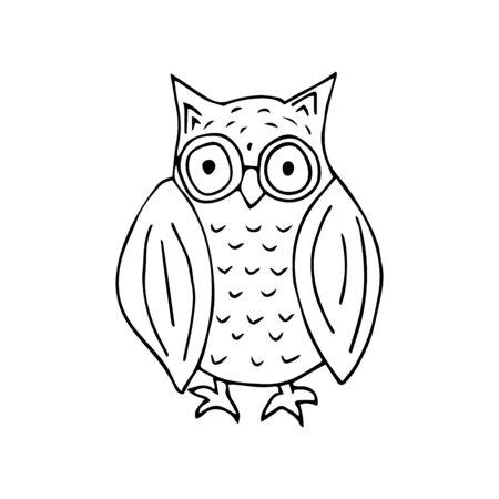 Cute owl black and white doodle illustration on white background. Forest bird of prey Ilustracja