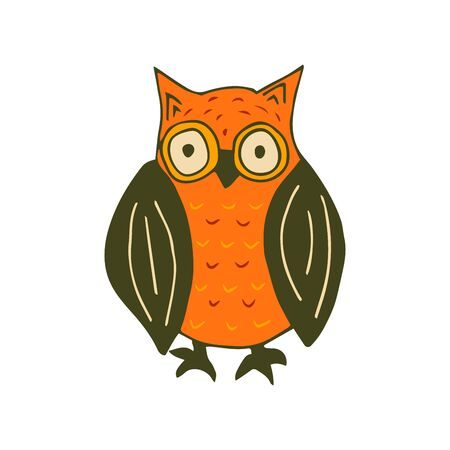 Cute owl colorful doodle illustration on white background. Forest bird of prey vector