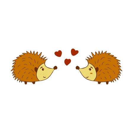 Two cute hedgehogs in love colorful illustration on a white background. Forest animal with prickly needles