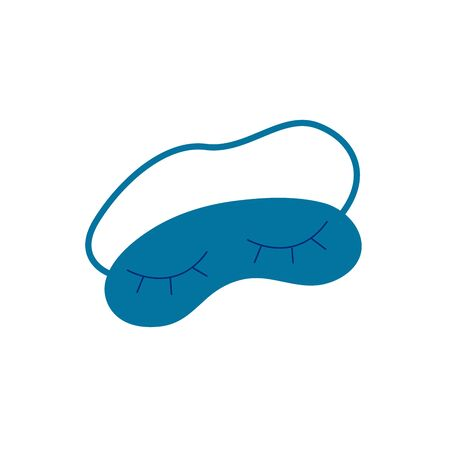 Blue eye mask for sleeping. A convenient accessory for a comfortable sleep. Colorful cartoon style illustration on white background with closed eyes print Vecteurs