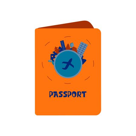 Passport in an orange cover with a print in the shape of a planet and trees, mountains, a house and high-rises around the edge. A plane in the center of the planet. Colorful illustration on a white background in cartoon style Foto de archivo - 141839187