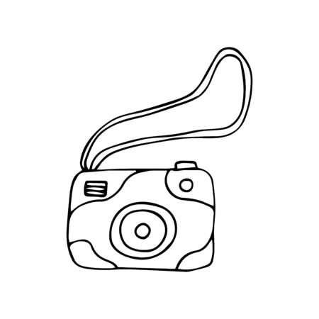 Stylish camera with rope for easy carrying. A portable gadget for creating photo. Black and white illustration doodle style