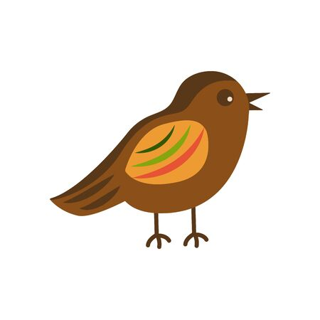 Cute bird with colorful plumage on a white background is standing. Brown color with bright feathers. Wildlife representative. Cartoon style