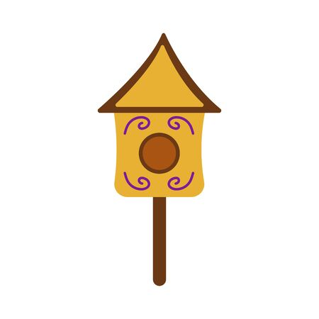 Cute wooden birdhouse. Colorful illustration on a white background in cartoon style. Feeding trough for birds arriving from warm edges in the spring. Wooden building for the care of birds Illustration