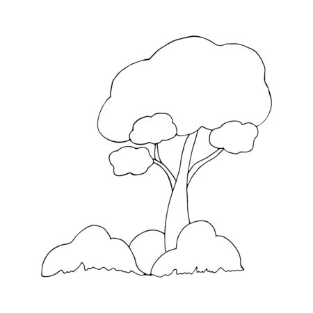 Beautiful tree with spreading branches, bushes and grass on a white background. National Forest Day. The concept of conservation of nature. Spring or summer doodle style black and white illustration. National arbor day. Ecology. Vettoriali