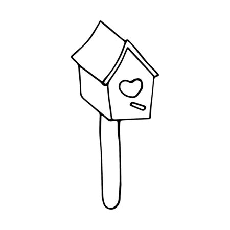 Cute wooden birdhouse. Heart shaped entrance. Black and white illustration on a white background in doodle style. Feeding trough for birds arriving from warm edges in the spring. Wooden building for the care of birds