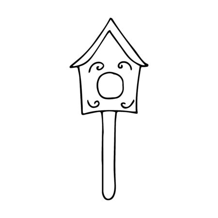 Cute wooden birdhouse. Black and white illustration on a white background in doodle style. Feeding trough for birds arriving from warm edges in the spring. Wooden building for the care of birds