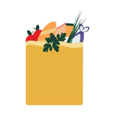 A package with products bought in a store. Paper bag with food. Home delivery. Set of products, bread, pasta, milk, apple, salad, fish, juice. Colorful illustration on a white background, isolate