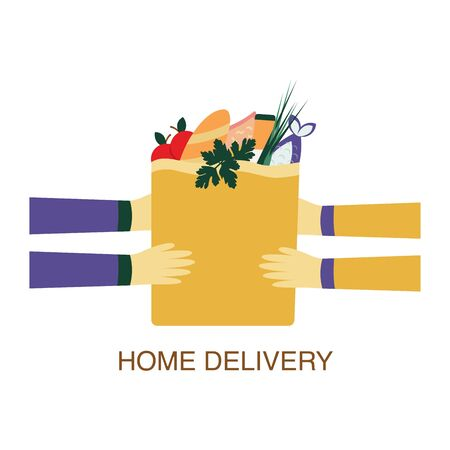 Home delivery a package with products bought in a store. The courier transfers the delivered food to the customer. Paper bag with food. Set of products, bread, pasta, milk, apple, salad, fish, juice. Colorful illustration on a white background