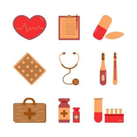 Medical supplies icons for doctor profession illustration. Health care services concept. Set vector Ilustracja