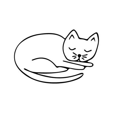 Doodle sleeping cat black and white illustration on white background. Cute animal vector Vektorgrafik