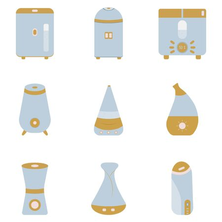 Humidifier set. Aromatherapy for the home and a modern, useful air purifier. Vector colorful illustration in cartoon style flat