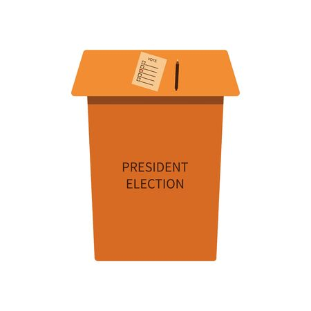 Rack to fill in a sheet with a list of presidential candidates. Presidential election 2020. Ballot is lowered into the ballot box to vote for the president. Vector illustration isolated on white background