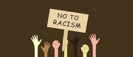 Hands of people of different races are raised up on a brown background with a wooden sign no to racism. Africans, Europeans, Asians. Friendship of peoples and tolerance. Struggle for equality, protest. Vector illustration flat style Çizim