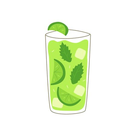 Mojito in a glass with slices of lime, mint leaves and ice cubes. Summer drink. Colorful vector illustration on a white background