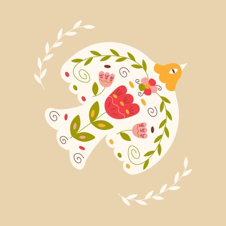 White bird pigeon decorated with flowers tulips and twigs with leaves flies. Bright colorful vector illustration in cartoon style on a beige background. Dove of peace Ilustrace