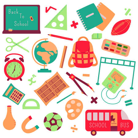 Back to school elements set. Vector illustration. Board, briefcase, notebooks, supplies for drawing, mathematics and physics, physical education and geography