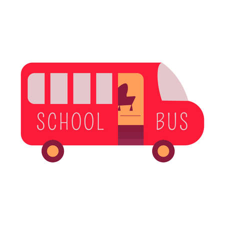 Red school bus vector illustration. Transportation pupil or student. Back to School concept icon isolated