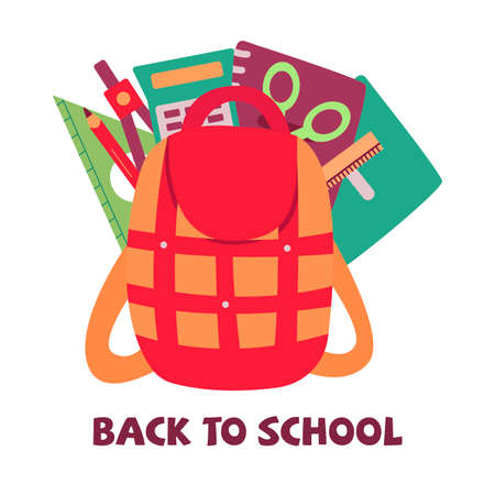 School backpack with supplies. Back to school vector illustration. Set of notebooks, compasses, ruler and pencil, scissors and calculator