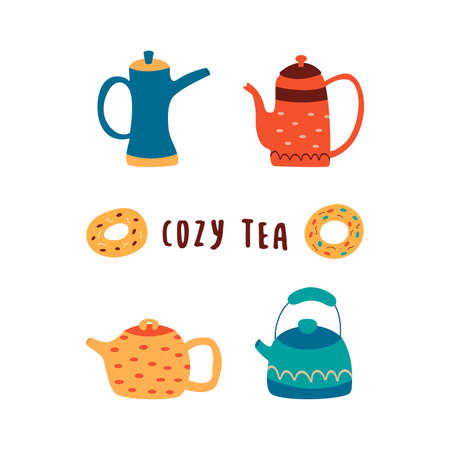 Set of cute teapots with donuts and the inscription cozy tea. Colorful cartoon vector isolated illustration on white background