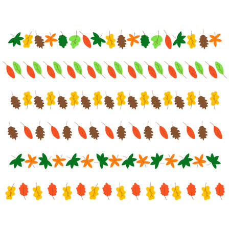 Set of autumn leaves of different trees for decoration. Horizontal banners on a white background. Maple, oak, chestnut, birch. Colorful vector hand drawn illustration