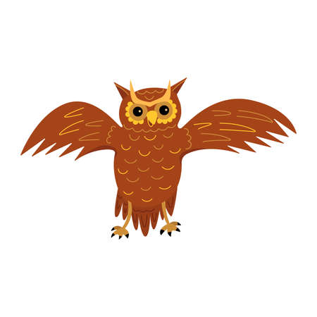Cute owl spreads its wings. A majestic wise nocturnal bird of prey. Colorful vector isolated illustration in cartoon style