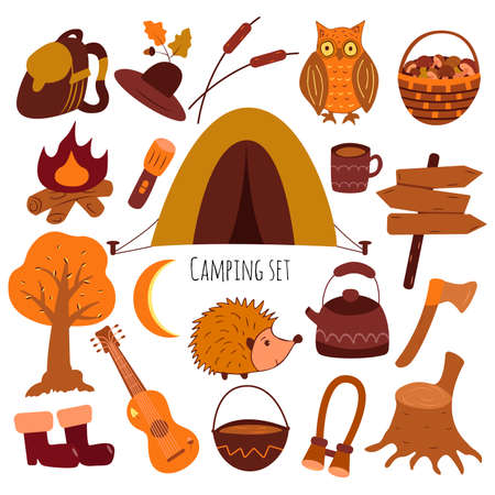 Camping icon set. Tourist equipment. Tools for rest in the forest. Isolated vector illustration in flat style