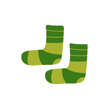 Warm cozy socks. Green striped. Comfortable clothes for cold weather. Winter or autumn socks. Isolated vector illustration in flat style Ilustracja