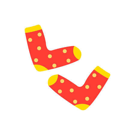 Warm cozy socks. Red with polka dots. Comfortable clothes for cold weather. Winter or autumn socks. Isolated vector illustration in flat style Ilustracja