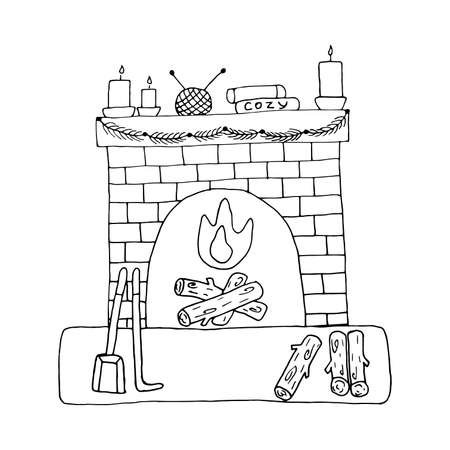 Cozy fireplace with burning candles, stack of books, yarn and knitting needles. Wood is lying near the fireplace, shovel and fireplace poker. Garland of fir twigs. Black and white vector illustration