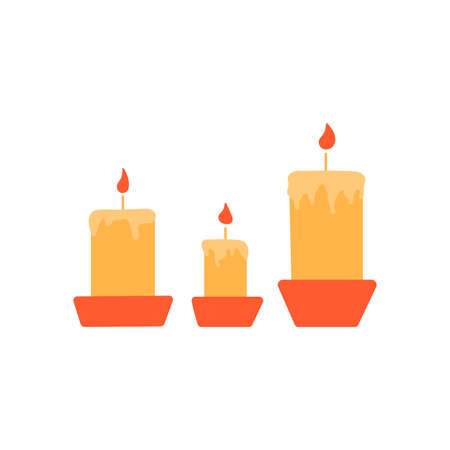 Burning candles in candlesticks. Wax or paraffin. Colorful vector isolated illustration hand drawn. Home decor element, holiday party, Christmas or aromatherapy