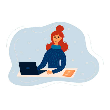 Happy girl sits at a table with laptop. Business woman works from home. Freelancer or remote employee. Colorful trendy vector illustration in flat style Stock Illustratie