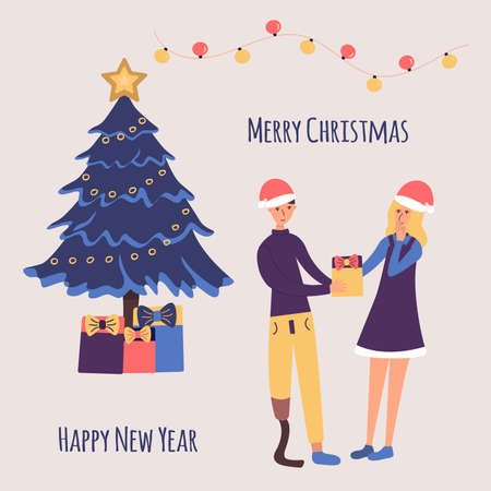 Disabled guy with a prosthetic leg congratulates his girl on Christmas and New Year and makes a gift. The girl is happy and covers her mouth with her hand in surprise. Christmas tree with gifts. Santa Claus hats. Garland. Colorful cartoon vector illustration holiday