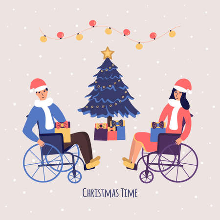 A man and a woman in wheelchairs are celebrating Christmas and New Year. Christmas tree with gifts. Santa Claus hats. Garland. People with disabilities smile happily. Colorful cartoon vector illustration card holiday