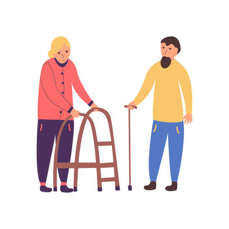 Couple of seniors. Grandmother and grandfather with a cane. People with disabilities. Vector isolated illustration in cartoon style