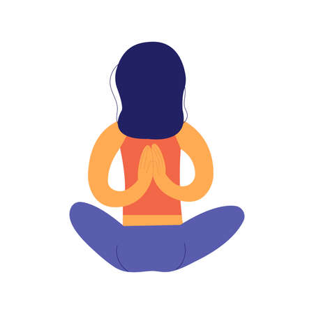 Girl meditates while sitting in the lotus position with her hands behind her back. Yoga practice for relaxation, balance, energy storage and health promotion. Colorful vector isolated illustration in flat style Illusztráció