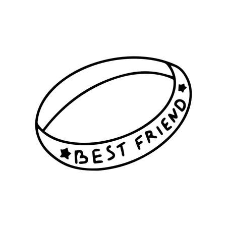 Friendship Bracelet. Best friend lettering. Happy friendship day. Black and white vector illustration isolated. Icon hand drawn symbol