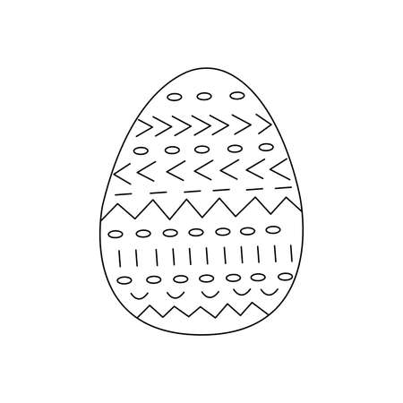 Easter egg decorated with abstract signs, sticks and circles. Traditional food and symbol for the Orthodox and Catholic holidays. Happy easter. Black and white doodle vector illustration isolated. Icon or card line
