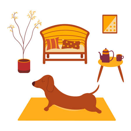 Dachshund practices yoga back bending on yoga mat. Yoga dog, relaxation and sports. Table with kettle and cup of tea. Painting on the wall, potted plant standing on the floor, sofa and pillows. Room interior. Vector cartoon colorful illustration animal 向量圖像