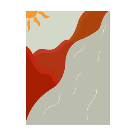 Beautiful minimalist mountain landscape with river and sun. Painting trendy for an interior with nature. Colorful vector illustration hand drawn boho colors. Vertical poster