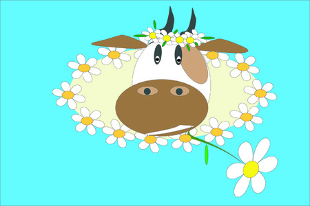 Cow with flowers. Vector