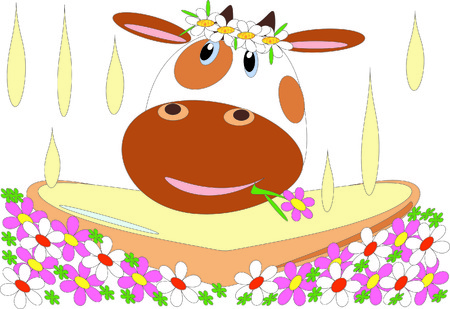 Cow with flowers and milk. Vector