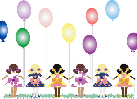 Girls with balloons Illustration