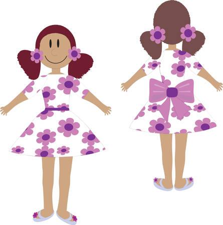 Girl in white dress Stock Vector - 7729799
