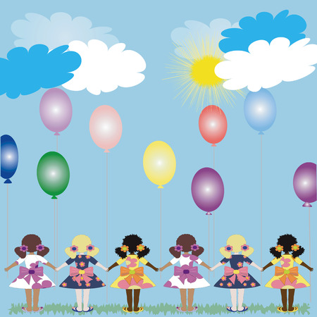 trini: Girls with balloons Illustration