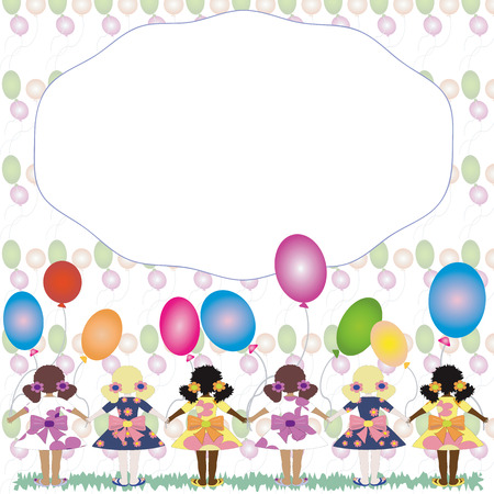 Girls with balloons, frame Illustration