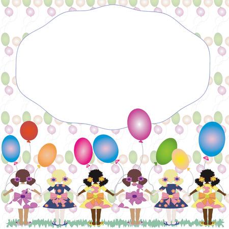 caribbean party: Las ni�as con globos, marco