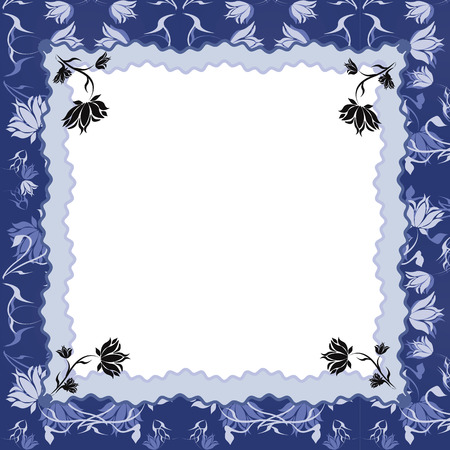 Floral frame,blue colors. Vector